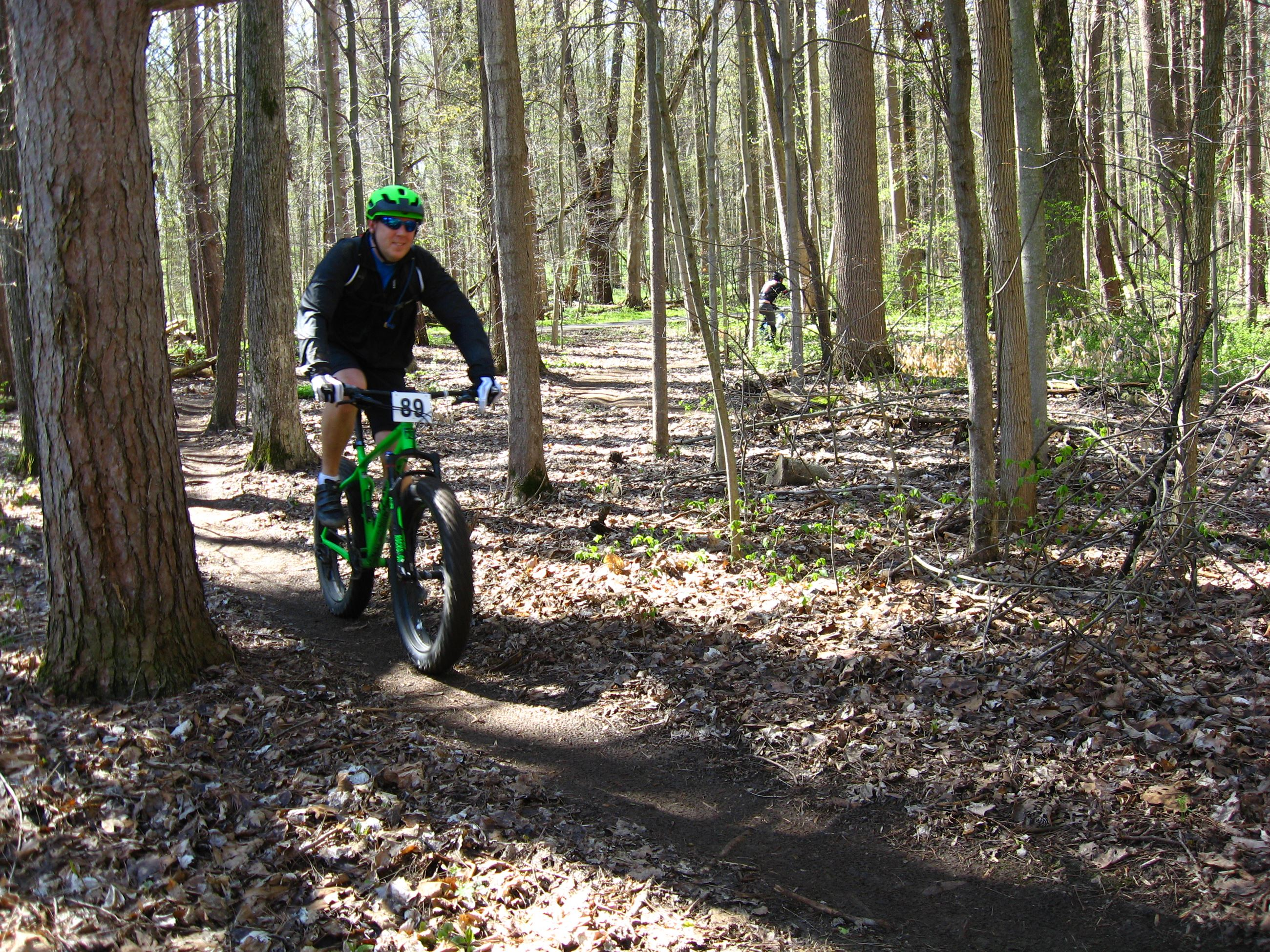 Riding the Mountain bike trail at Bendix Woods Co Park